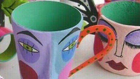 PK2, MAD HATTERS TEA PARTY, Papier Mache Tea Cups and Mugs  (6 yrs+)