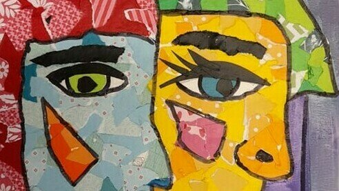 PK3, PICASSO PEOPLE!  Mixed Media media on canvas  (7 yrs+)