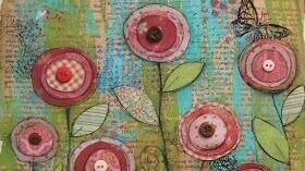 PK4, SPRINGTIME FLOWERS, Mixed media on canvas  (7 yrs+)